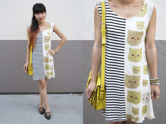 Toshiko S. - Napkin Cat Print And Stripes Dress, Hong Kong Yellow Leather Satchel, Oasap Spiked Flats - Cats vs. Stripes