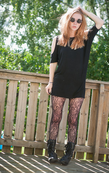 Sofia Holmberg - Lindex Black, Round Glasses, Jc Shirt/ Dress / Tunic With Open Shoulders, Lace Leggings, Tights, Klädkällarn Black Shoes/Boots - As long as you love me.