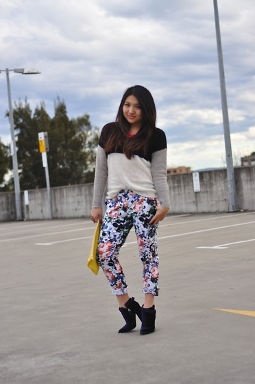 Karen - Sabo Skirt Floral Pants, Thakoon Velvet Boots, American Apparel Clutch, Bardot Sweater - Floral party on my pants.