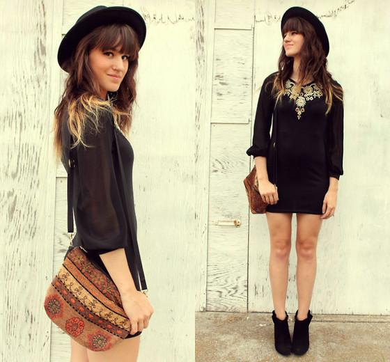 Tonya S. - Beaded Dress, Vintage Bag, Esther Boots In Black - Witchy Woman
