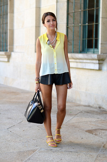 Alexandra Per - Storets Shirt, Mentirosas By Fernando Claro Shorts, Zara Sandals, Givenchy Bag, Mango Necklace - Yellow tie dye