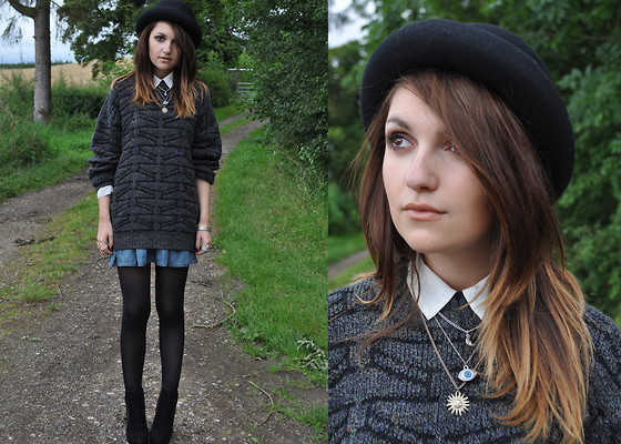Zoe Green - Bowler Hat, Jumper, Guess? Denim Skirt, Outfit Shoes, Topshop Necklace, H&M Shirt - Mad Hatter