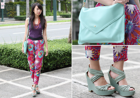 Sophie Ramos - Satchi Store Mint Envelope Clutch, Miss Mannequin Floral Harem Pants, House Of Sabrina Beaded Necklace - Floral Mix