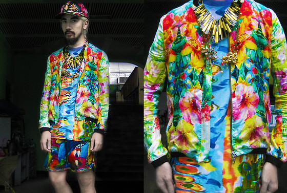 Andre Judd - Billabong Parrot Print Boardies, Floral Print Bomber Jacket, Vintage Watercolor Print Tee With Beads And Sequins, Ray Of Gold Neckpiece, Floral Crystal Necklace, Vintage Floral Print Cap - WATERCOLOR FLORALS AND PARROTS