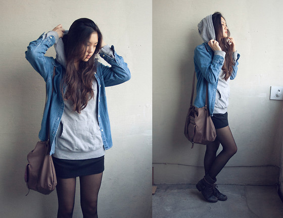Lydia H - Gap Denim Jacket, Forever 21 Grey Hoodie, Zara Brown Bag, Pencil Skirt, Aldo Brown Lace Up Boots - Rainy day lovin'