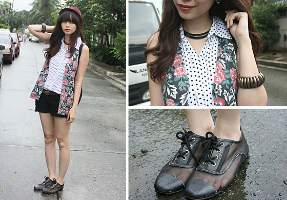 Bea Benedicto - Alter/Ego Polka Dot Polo, Thrifted Floral Vest, Charlie Black Ripped Shorts, Alter/Ego Black Necklace - Through the Grapevine
