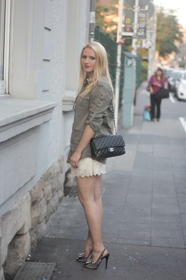 EMILIE HIGLE - Balmain Shirt, Chanel Bag, Zara Lace Shorts, Christian Louboutin Studded Heels - MILITARY, LACE AND STUDS