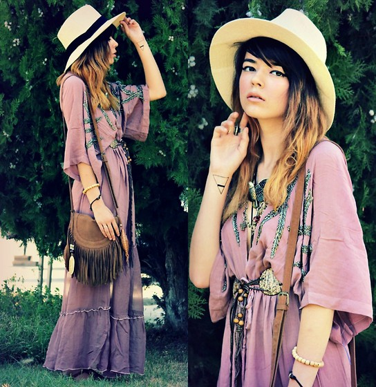 KENDALL SANCHÈZ - Temporary Tattoo, Beaded Dress, Forever 21 Eagle Necklace, Thrift Belt, Charlotte Russe Bag - .Mauve(GIVEAWAY).