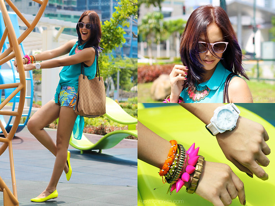 Patricia Prieto - Luminox Watch, Ray Ban Sunnies, Apartment 8 Top, Gucci Bag, Zara Shorts, Aldo Flats - Drunk Off Your Love