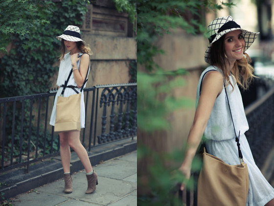 Laura Ellner - Vintage Dress, Eugenia Kim Hat, Pour La Victoire Purse - Baby Blue
