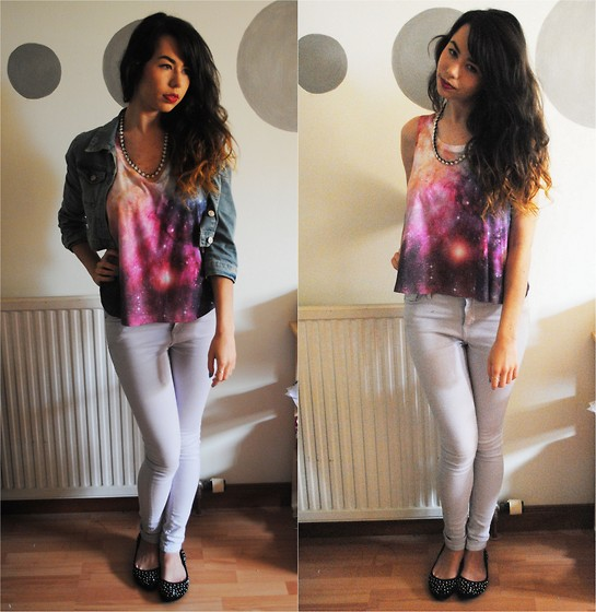Rachel Glennie - Matalan Galaxy Tee, Topshop Paster Purple Jamie Jeans, Matalan Denim Jacket, Matalan Studded Velvet Flats, H&M White Rose Necklace - PURPLE GALAXIES