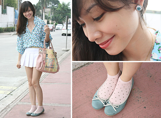 Bea Benedicto - Gen's Closet Eyeball Earrings, Lulu Swing Blue Ballet Flats, Philosophy Pink Bag, Alter/Ego Blue Polo - Eye Am Such A Girl