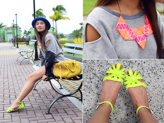 Laureen Uy - Wagw Hat, Bubbles Necklace, Wagw Top, Pinky Toes Flats - Pops of Neons (BMS)