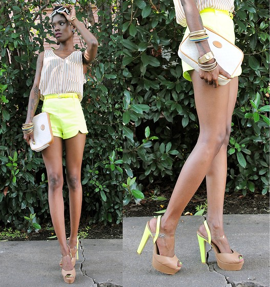 VintageVirgin Jessica - Romwe Neon Scallop Shorts, Beginning Boutique Two Neon Platfrom Shoes, Gucci Vintage Clutch, Forever 21 Stripe Top, Lulus Stacked Bangles - NEON NEUTRALS