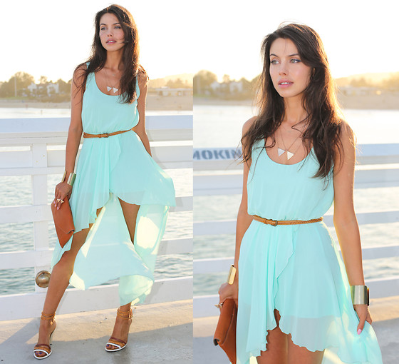 Annabelle Fleur - In Love With Fashion Dress, Fendi Heels, J. Crew Bag - Aquamarine