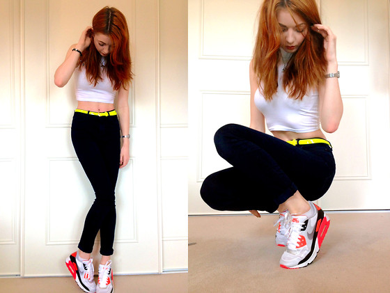 Hannah Louise - Asos High Neck Crop Top, Topshop High Waist Skinny Jeans, Nike Air Max 90 Hyperfuse Infrared - Casual