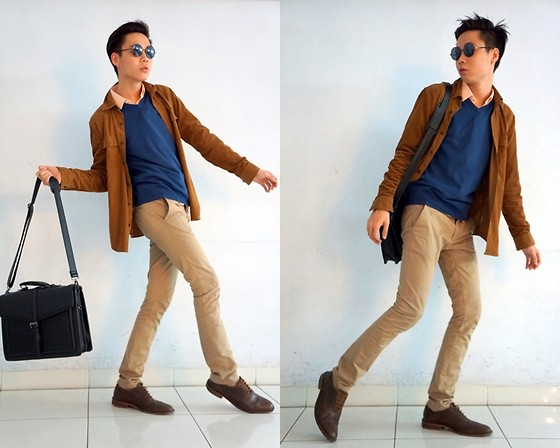 Charles Sumithio - Zara Office Bag, Ray Ban Vintage Sunglasses, Zara Chino Pants, Topman Slim Fit Basic Shirt, Gap Khaki Jacket !, Mango Brown Leather Shoes - Editorial Trip!