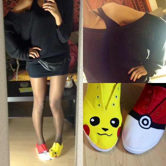 Uhagd N - Oversized Off Shoulder Jumper, Diy Pikashoes - Pikashoe, I choose you!