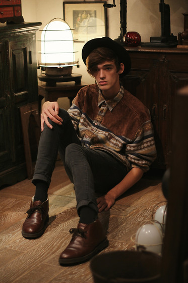Florentin Glémarec - Clarks Desert Boots, Cheap Monday Black Pant, Topman Shirt, Hat - Good Time