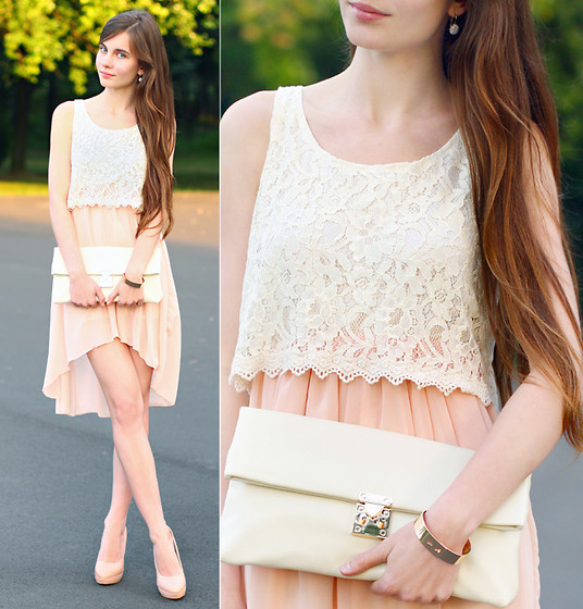 Ariadna Majewska - Romwe Two Pieces Dress With A White Lace Top And Pink Asymmetric Skirt, Vjstyle Beige Clutch Bag, Asos Beige Heels, Back Stage Gold Bracelets - Subtle elegance