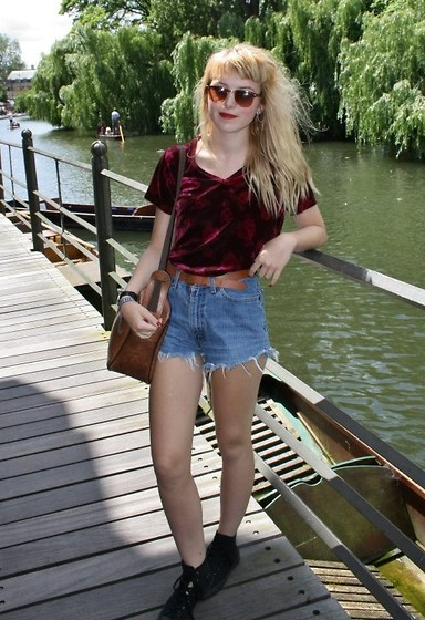 Layna Myhra - Charity Burgundy Velvet Shirt, Levi's® Levi Hot Pants, Converse Black, Charity Leather Brown Satchel, Brick Lane, London Sunglasses, Charity Leather Brown - Holla!