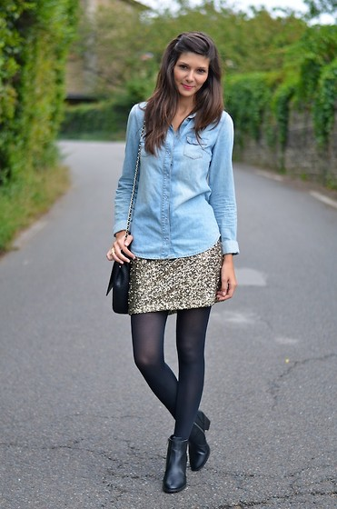 Céline Cavaillero - Topshop Denim Shirt, Mango Skirt, H&M Low Boots, Zara Bag - Hello September !