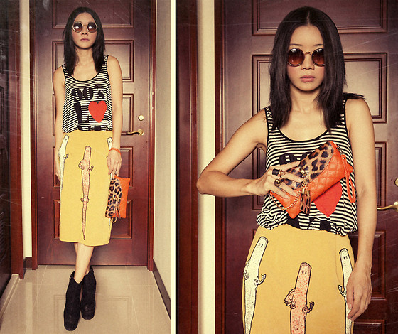 Violet Chang - H&M Stripes Top, Yellow Skirt - Three Little Lizards