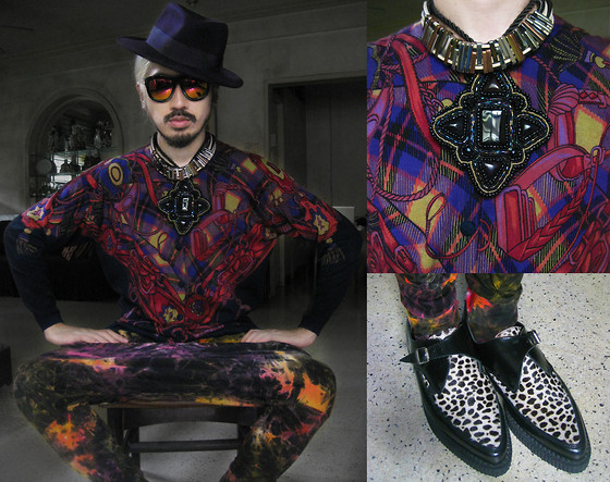 Andre Judd - Purple Fedora, Equestrian Scarf Print Knit Cardigan, Crystal Beaded Pendant, Multi Colored Ringed Metal Neckpiece, Leopard Print Creepers - DARK SUNSET