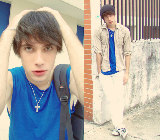 Panagiotios Karounis - Levi's® Shirt, Brazalet, Zara T Shirt, Levi's® Pants, Converse Shoes, Hat, Cruise - Blue Monday.
