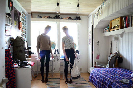 Amanda L - Topman Shirt, Ralph Lauren Sweater, Monki Manchesterpants, Denmark Bag, Secondhand Shoes - Swing my head from side to side