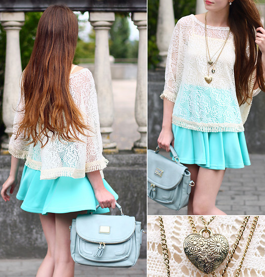 Ariadna Majewska - White Lace Cape, Romwe Blue Skirt, Romwe Retro Blue Bag, Chic Wish Victoria Hearts Necklace - Charming lace
