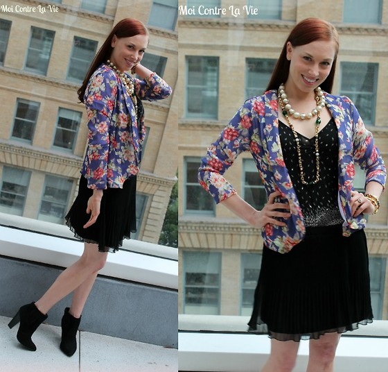 Caity Shreve - Tinley Road Floral Blazer, Zara Pleated Mini Skirt, Anthropology Floral Tank, Sasha Maks Vintage Necklaces, Rebecca Minkoff Ankle Booties - Factory Girl
