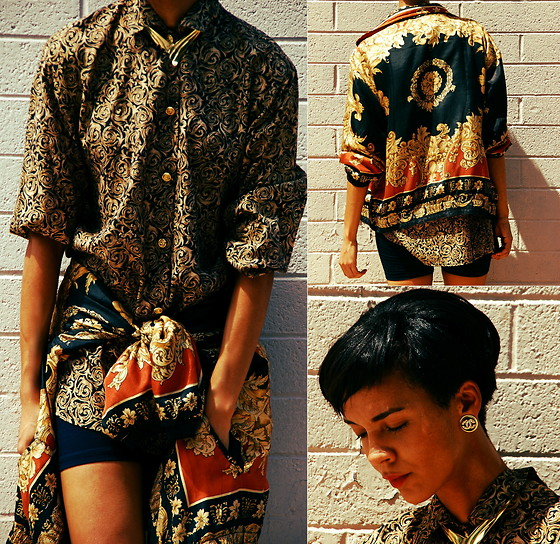 Luna Nova - Vintage Baroque Print Shirt, Vintage Baroque Print Jacket, Vintage Earrings, Buffalo Exchange Egyptian Gold Necklace - Blip