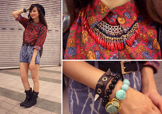 Bea Benedicto - Moonstone Designs Turquoise Bracelet, Luxury Mall Black Combat Boots, Thrifted Andre Floral Top - Every Rose Has Its Thorn