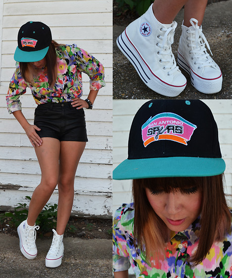 Angelica Peterson - Amazon Vintage Spurs Logo Snapback, Maxstar White Hi Top Flatform, Thrifted Button Up Blouse, H&M Black Shorts - La Texicana