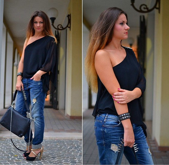 Nicoleta Buru - Zara Blouse, Bag, Jeans - Don't need a bf...just give me his jeans