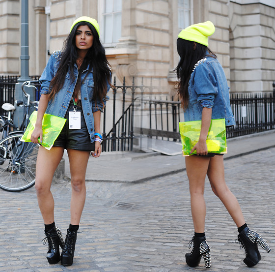 Kavita D - Ebay Neon Persex Clutch, Ebay Neon Knit Beanie, Youwearfashion Studded Denim Jacket, Vintage Leather Shorts, Jeffrey Campbell Spike Litas - London Fashion Week Day 2
