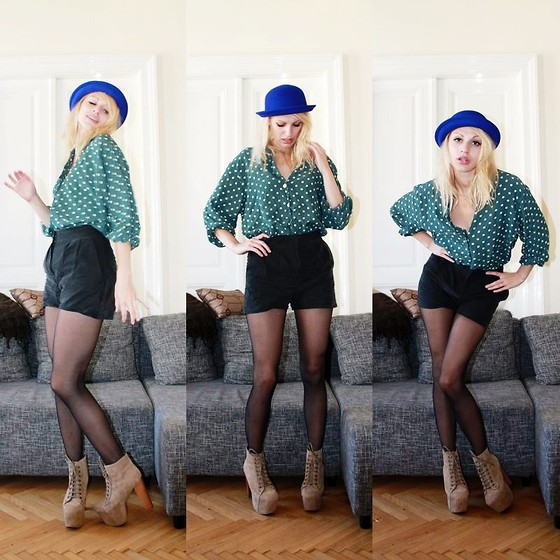 Florentine Florentines - Monki Shorts, H&M Hat, Vintage Blouse, Jeffrey Campbell Shoes - Green and blue, just like the ocean.
