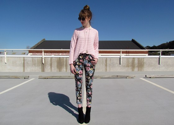 Amy Dunn - Thrifted Pink Sweater, Floral Jeans, Asos Boots - Floral
