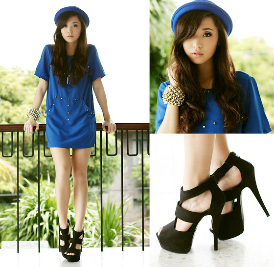 Kryz Uy - Wagw Blue Hat, Wagw Dress, Wagw Bracelet, Call It Spring Black Heels - Black and Blue