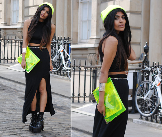Kavita D - Jeffrey Campbell Spike Lita, Ebay Neon Knit Beanie, Ebay Black Polo Crop, Ebay Neon Perspex Clutch - London Fashion Week Day 3