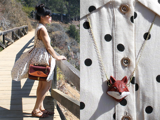 Toshiko S. - Forever 21 Polkadot Dress, Dooney & Bourke Vintage Two Tone Leather Handbag, Thrifted Vintage Woven Leather Sandal Flats, C/O Eclectic Eccentricity Fox Necklace - Big Sur