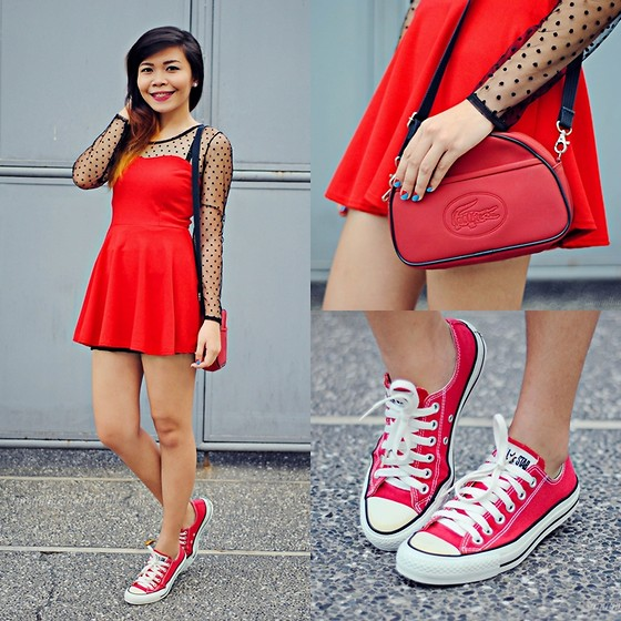 Samantha Nuyda - China Red Dress, Lacoste Red Sling Bag, Converse Red Chuck Taylor - Color of love
