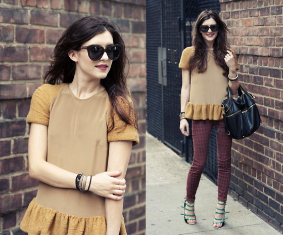 Laura Ellner - Opening Ceremony Peplum Top, Kelsi Dagger Bag, J Brand Pants, Zara Shoes - Ruffled Up