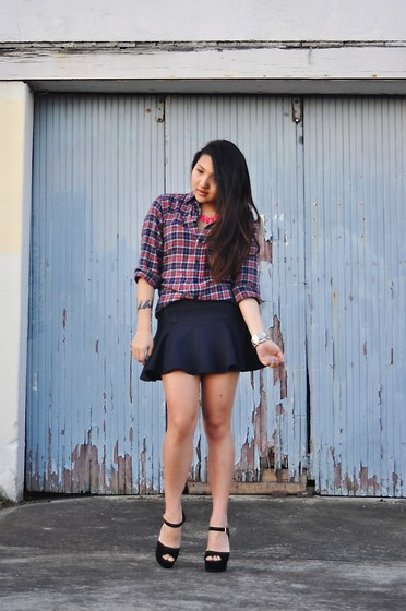Karen - Uniqlo Plaid Shirt, Bec & Bridge Skirt, Steve Madden Heels - Plaid
