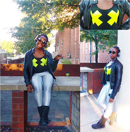 Khadijat Yussuff - X Marks The Spot Bodysuit, Disco Pants, Spiked Boots, Leather Jacket - X Marks the Spot