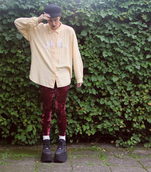Christian Meltzer - Beyond Retro Hat, Vintage Shirt, Monki Velvet Tights, Buffalo Tower Shoes - I DON'T SEE WHAT ANYONE CAN SEE IN ANYONE ELSE BUT YOU