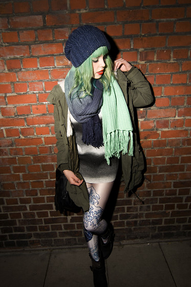 Nora Vader - Monki Scarf, Black Milk Clothing The Great Wave Leggings, H&M Parka - Just another meaningfull quote