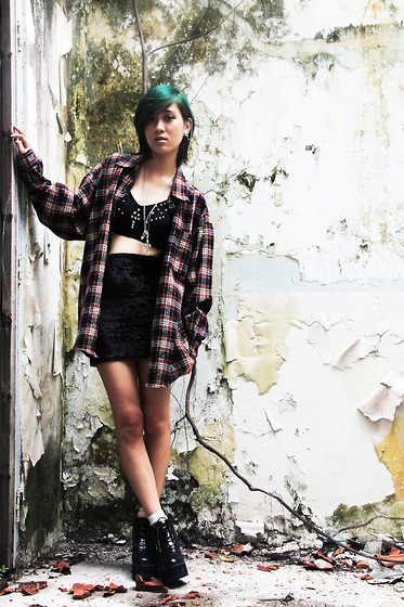 Jackie T See - Vintage Flannel Shirt, Toxic Codeine Studded Bralet - If you're still breathing