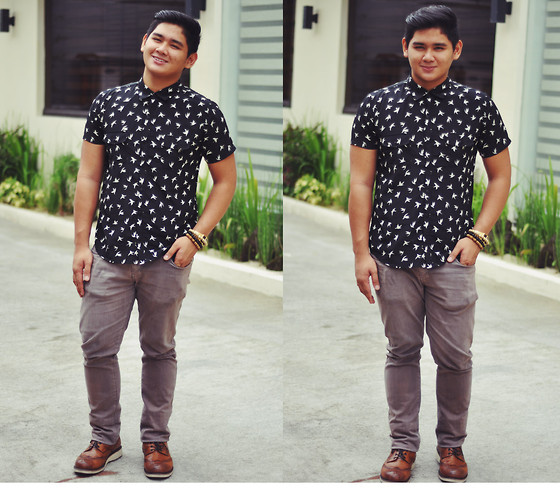Xavier Cruz - Folded&Hung Print Buttondown, People Are Brown Skinny, Stefanno Rossi Brogues - Fly Away